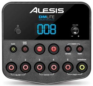 Alesis DM Lite Kit E-Drum Set mit Hocker, Kopfhörer und Sticks (elektronisches Schlagzeug, faltbares, vormontiertes Rack, LED Pads blau beleuchtet, 200 Sounds Drums und Becken, Pedale, Kabel, Netzteil) schwarz -