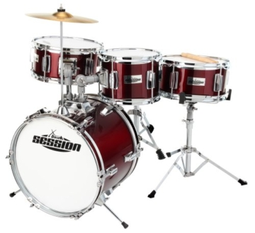 XDrum Junior Kinder Schlagzeug Drumset (2-5 Jahre) inkl. Schule mit DVD rot -
