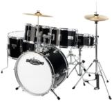 XDrum Junior Pro Kinder Schlagzeug Drumset (geeignet von 5-9 Jahren, mit viel Zubehör, Schule, DVD) schwarz -