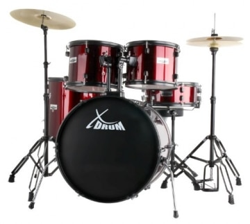 "XDrum Rookie 22"" Standard Schlagzeug Komplettset Ruby Red & inkl. Schule + DVD - 1"